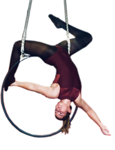 Katie performing in the aerial hoop.